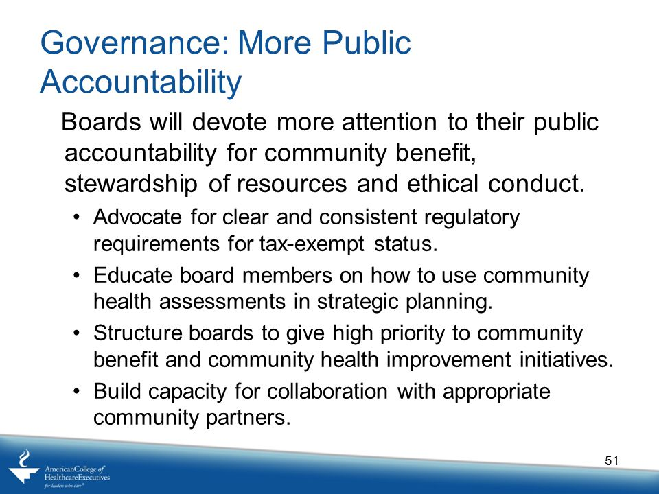 Governance: More Public Accountability