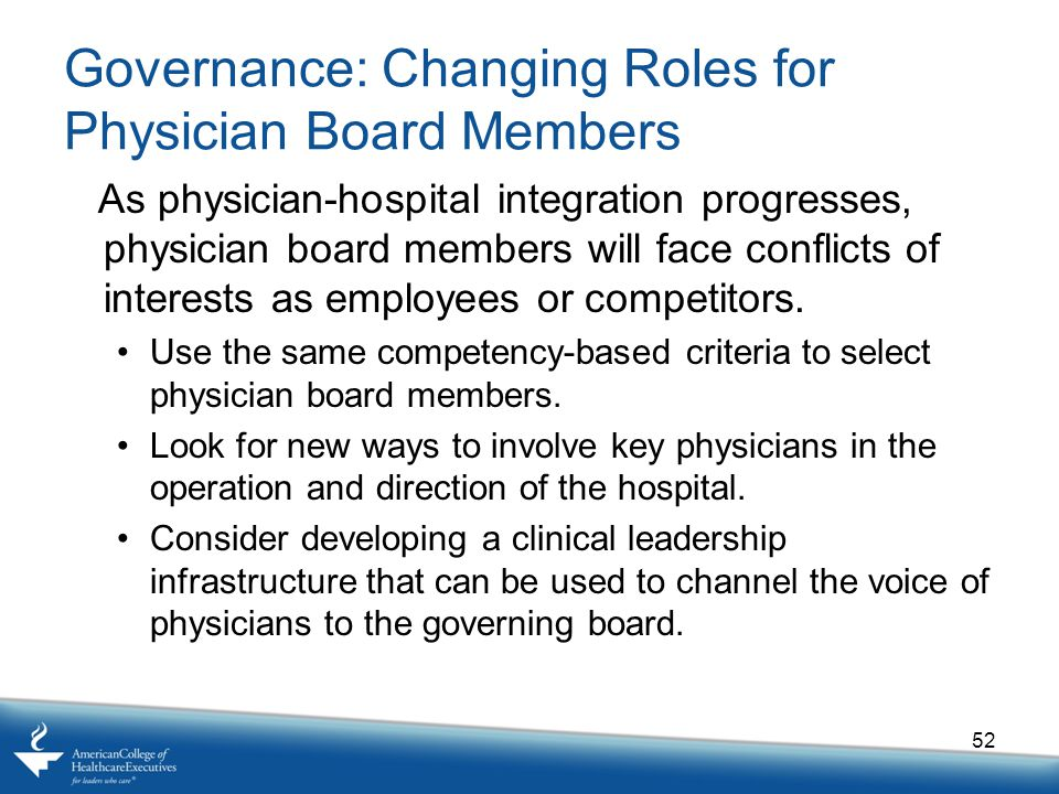 Governance: Changing Roles for Physician Board Members