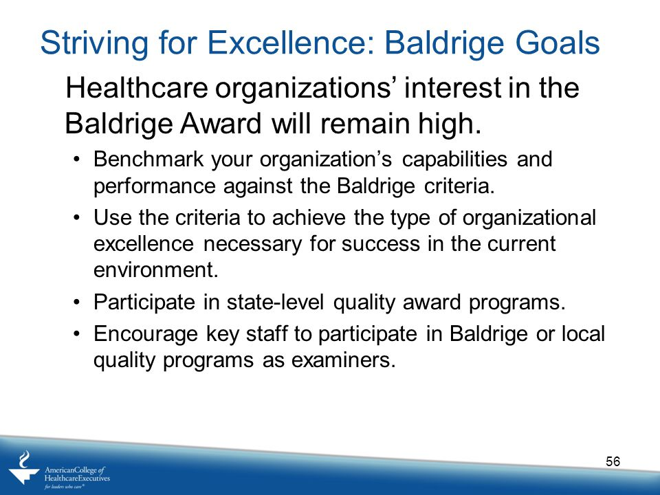 Striving for Excellence: Baldrige Goals