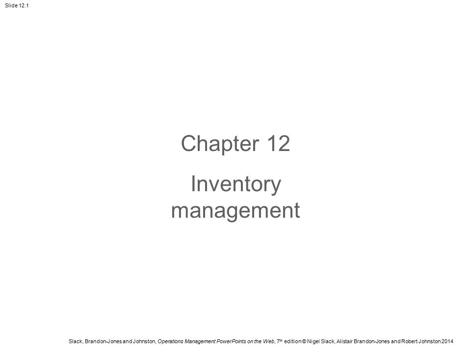Chapter 12 Inventory management