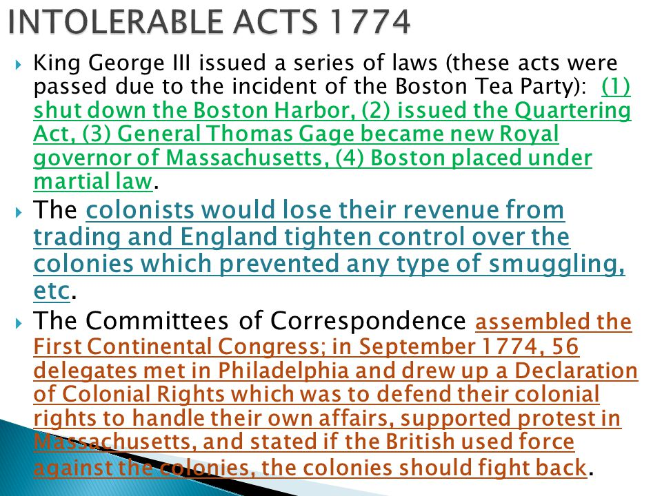 INTOLERABLE ACTS 1774