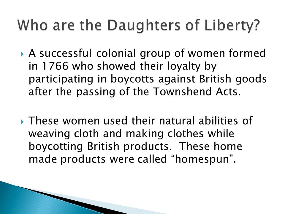 Who are the Daughters of Liberty