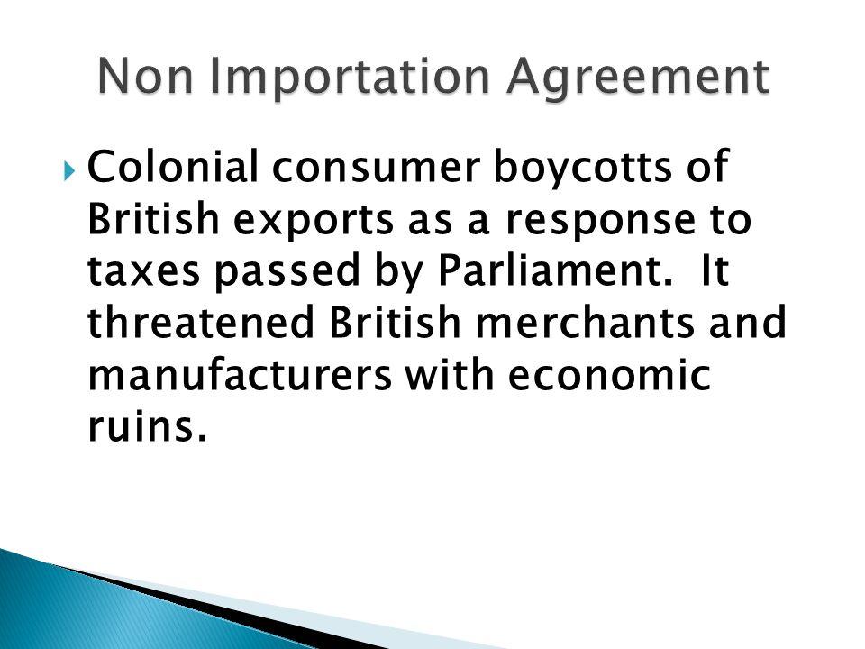 Non Importation Agreement