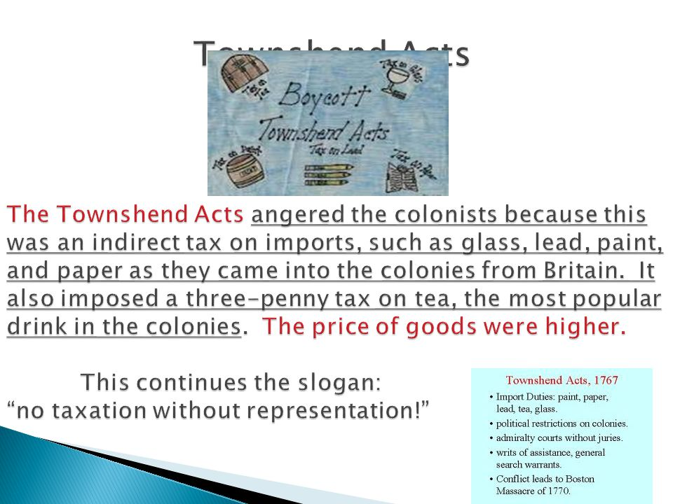 Townshend Acts The Townshend Acts angered the colonists because this was an indirect tax on imports, such as glass, lead, paint, and paper as they came into the colonies from Britain.