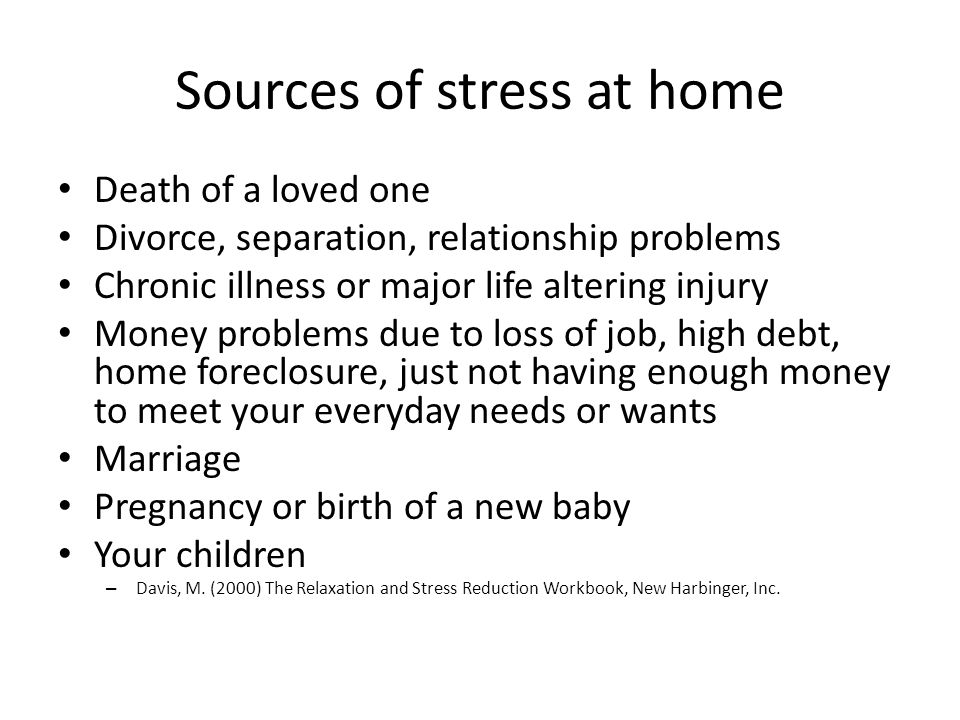 Sources of stress at home