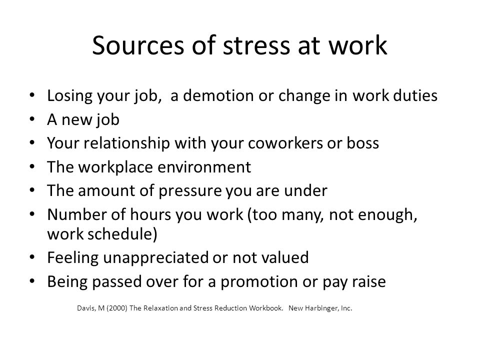 Sources of stress at work