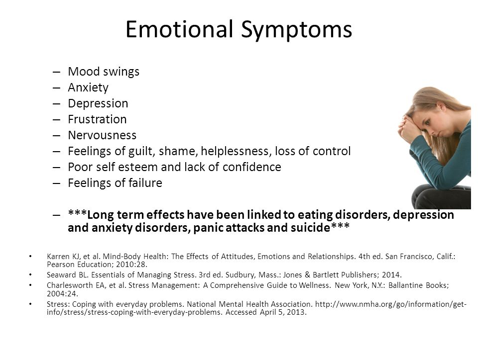 Emotional Symptoms Mood swings Anxiety Depression Frustration