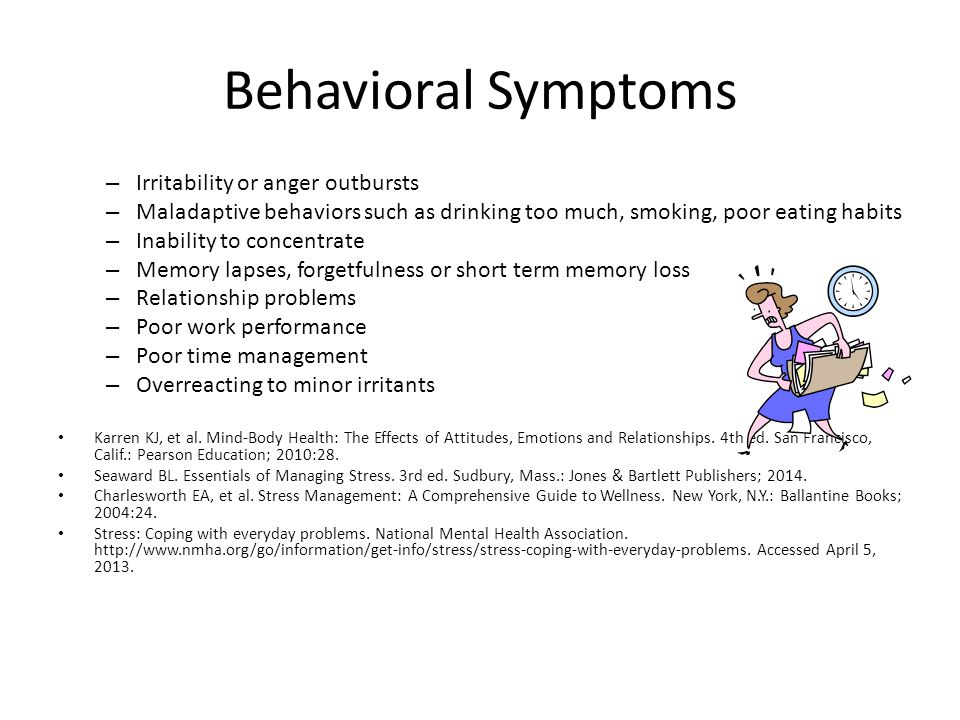 Behavioral Symptoms Irritability or anger outbursts
