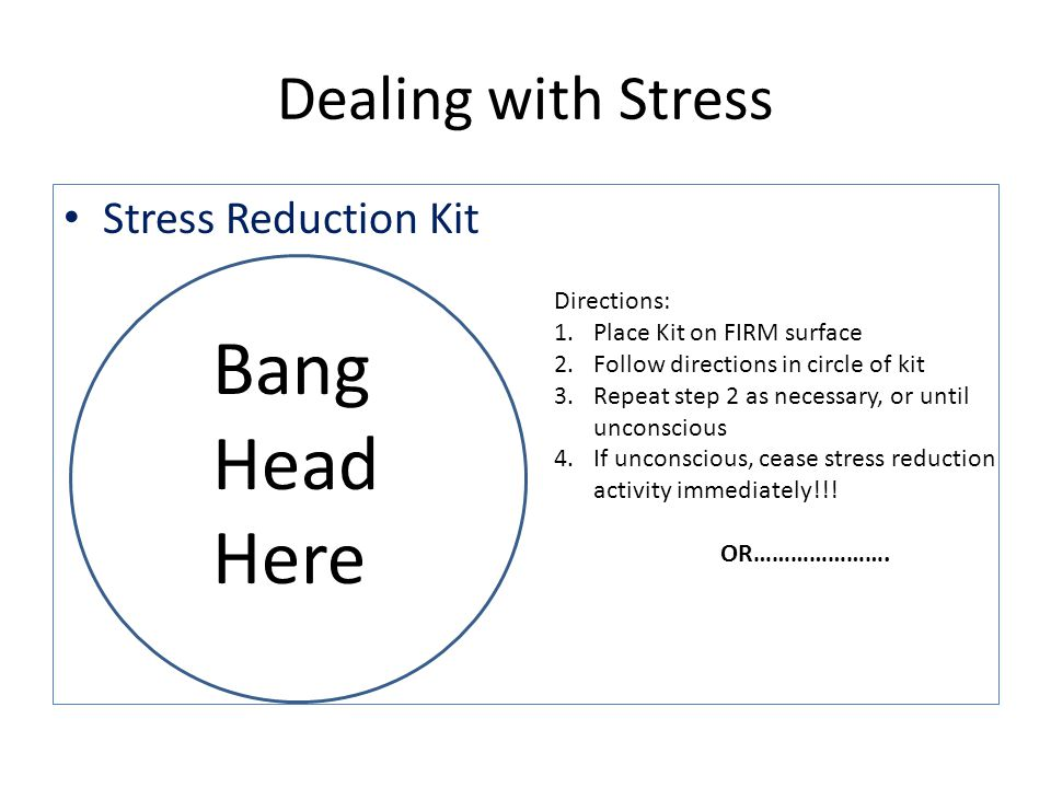 Bang Head Here Dealing with Stress Stress Reduction Kit Directions: