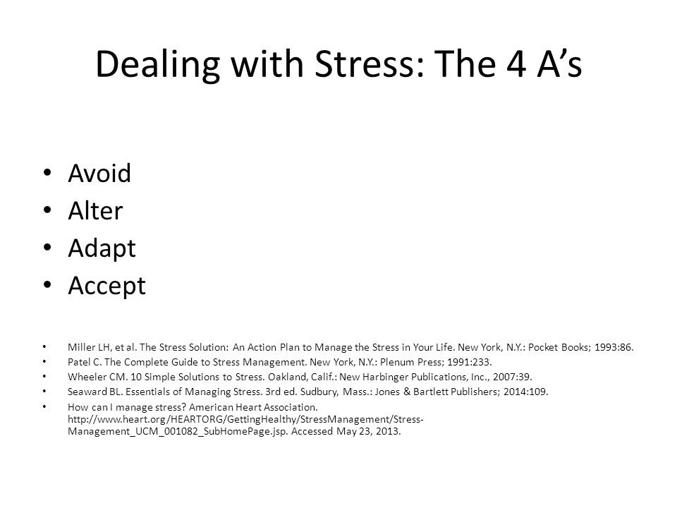 Dealing with Stress: The 4 A's