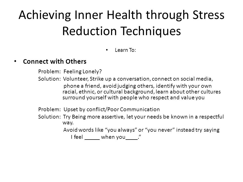 Achieving Inner Health through Stress Reduction Techniques