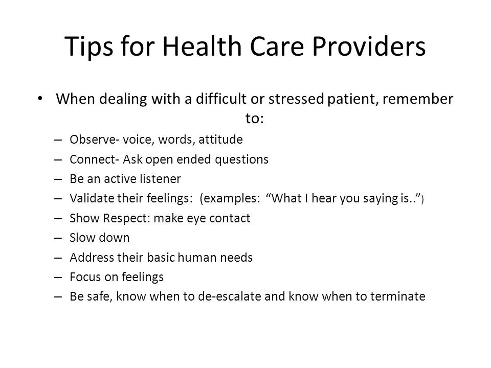 Tips for Health Care Providers