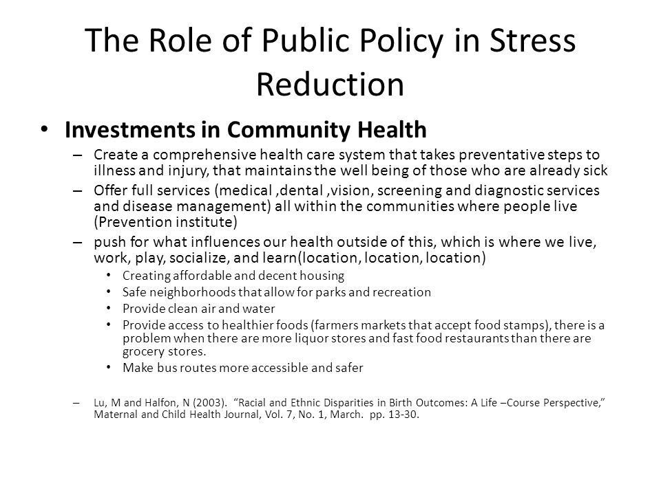 The Role of Public Policy in Stress Reduction