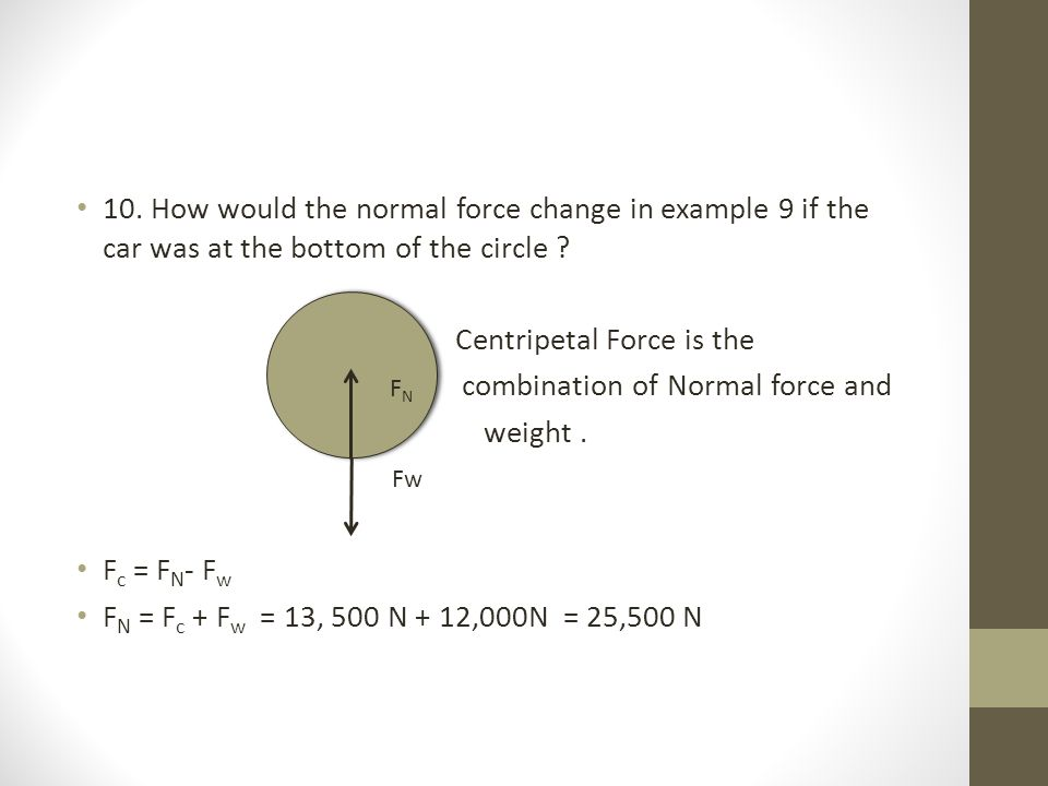 Centripetal Force is the combination of Normal force and weight .