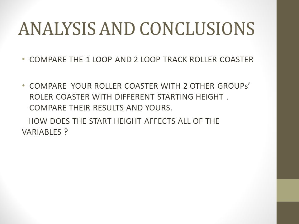 ANALYSIS AND CONCLUSIONS