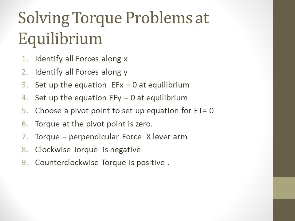 Solving Torque Problems at Equilibrium