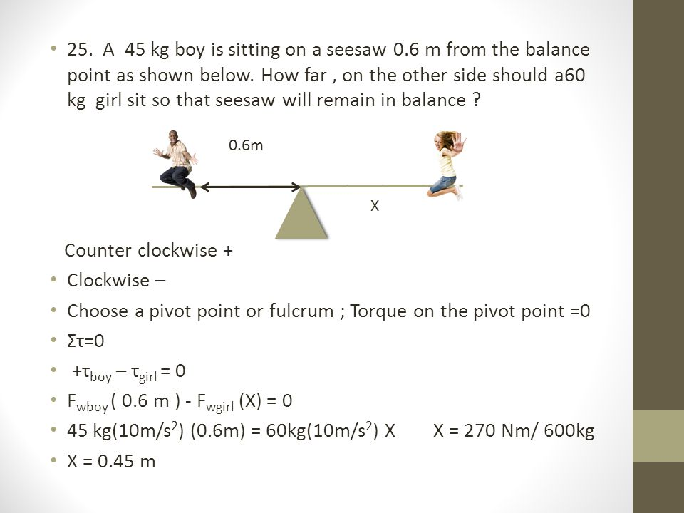 Choose a pivot point or fulcrum ; Torque on the pivot point =0 Στ=0
