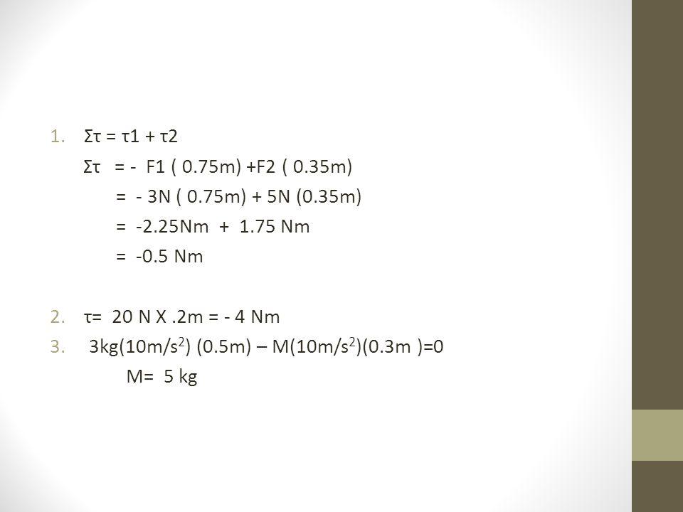 Στ = τ1 + τ2 Στ = - F1 ( 0.75m) +F2 ( 0.35m) = - 3N ( 0.75m) + 5N (0.35m) = -2.25Nm + 1.75 Nm.