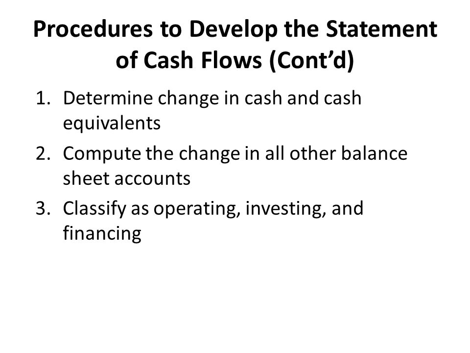 Procedures to Develop the Statement of Cash Flows (Cont'd)