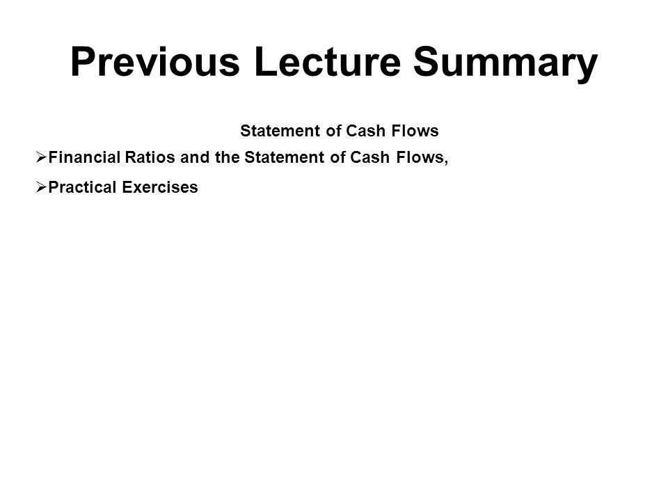 Previous Lecture Summary