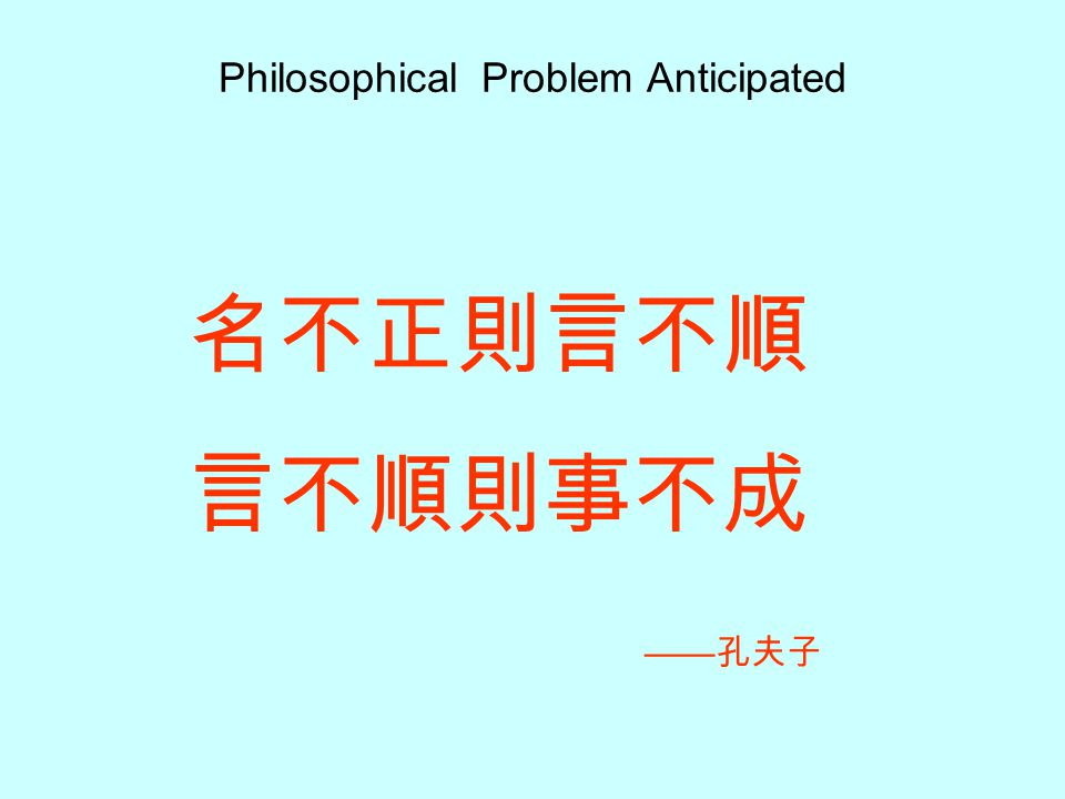 Philosophical Problem Anticipated
