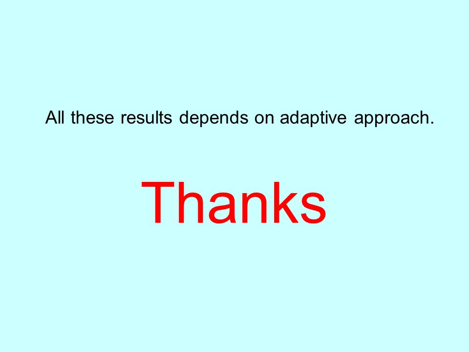 All these results depends on adaptive approach.