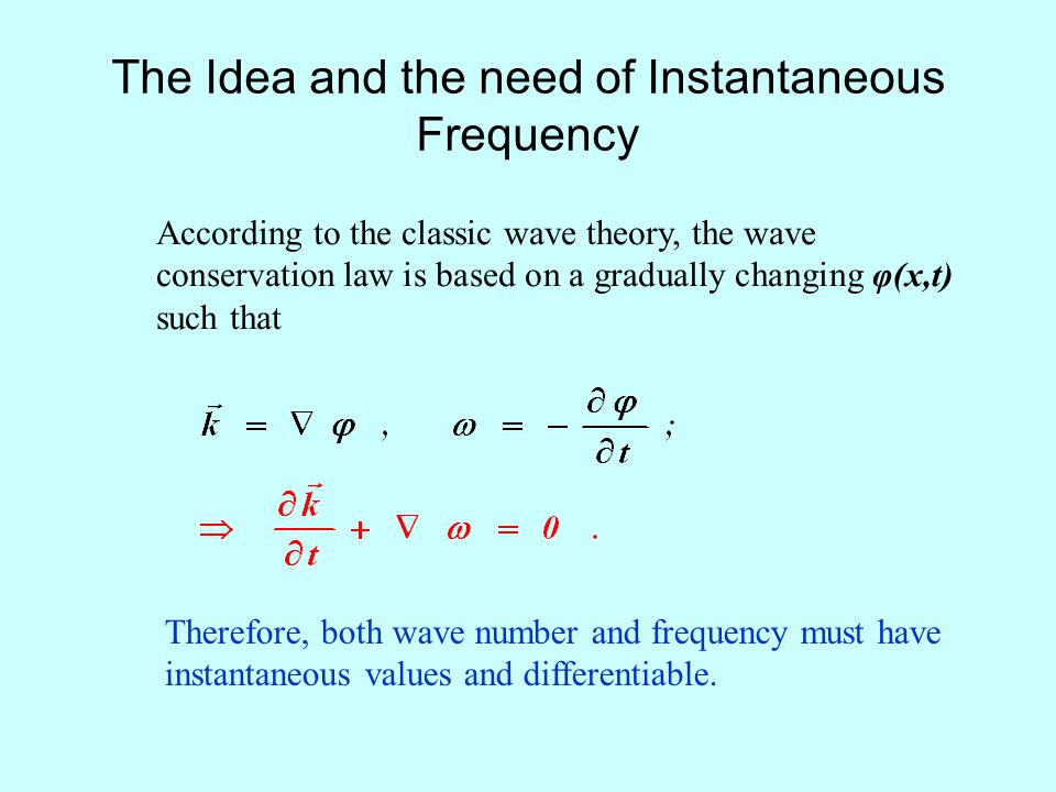 The Idea and the need of Instantaneous Frequency