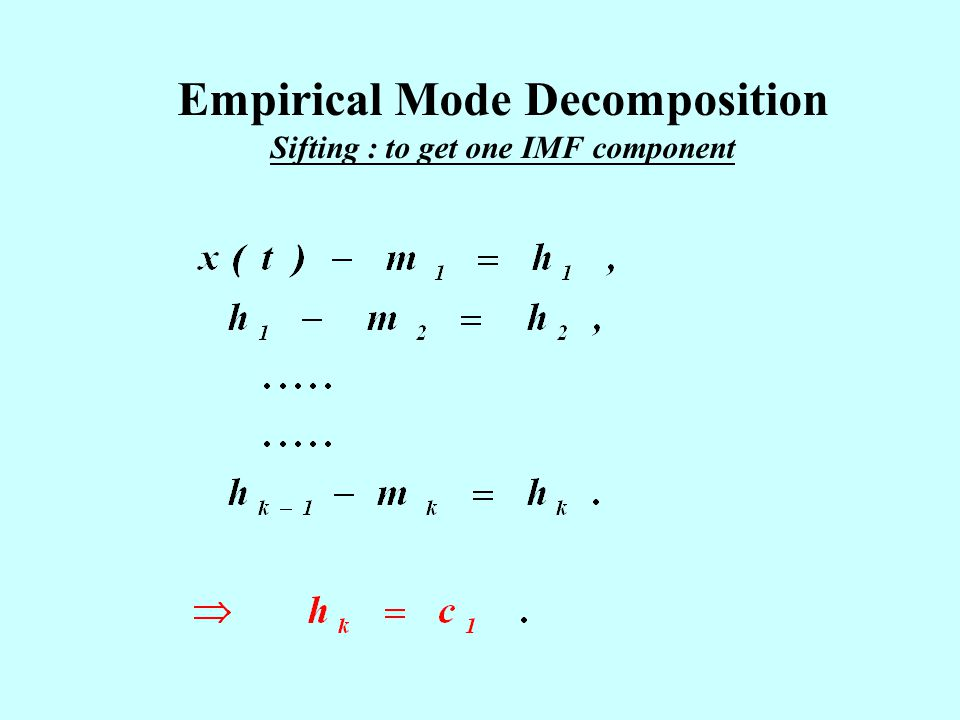 Empirical Mode Decomposition Sifting : to get one IMF component