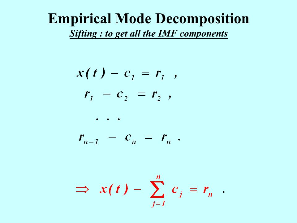 Empirical Mode Decomposition Sifting : to get all the IMF components