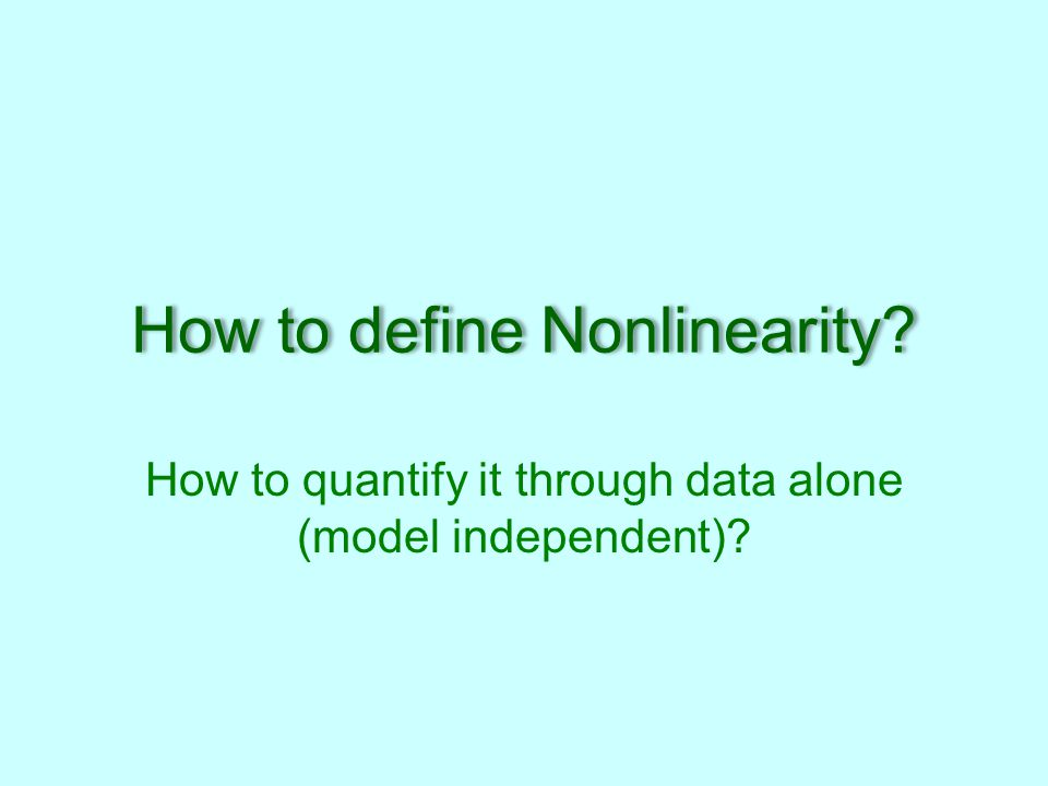 How to define Nonlinearity