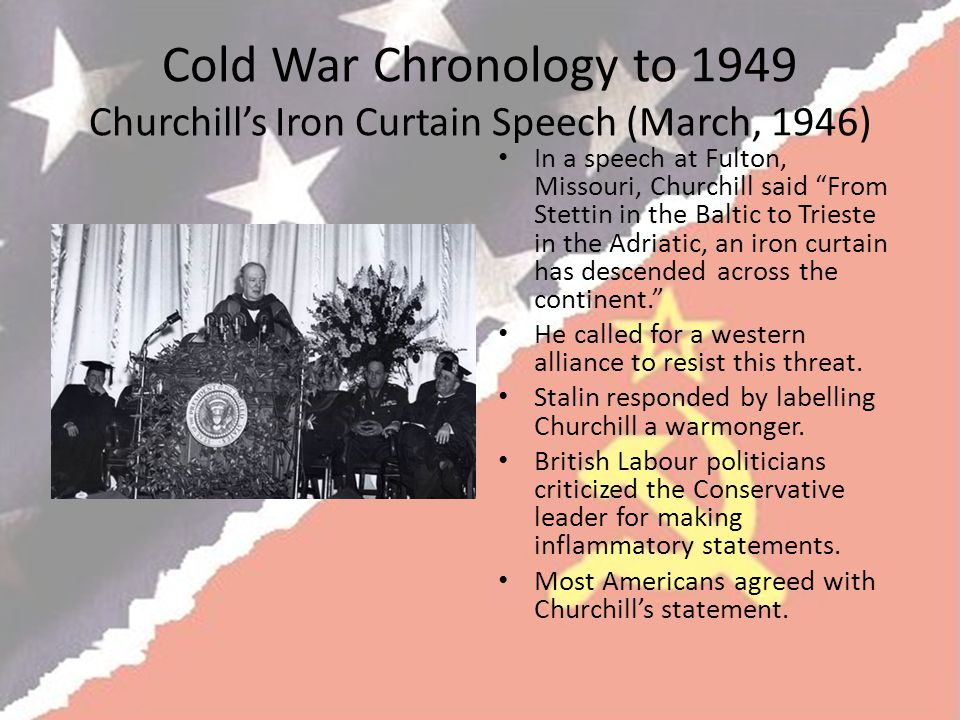 Cold War Chronology to 1949 Churchill's Iron Curtain Speech (March, 1946)