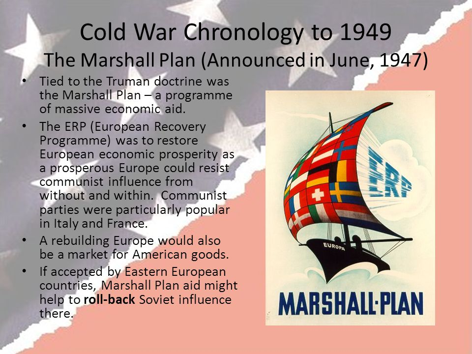 Cold War Chronology to 1949 The Marshall Plan (Announced in June, 1947)