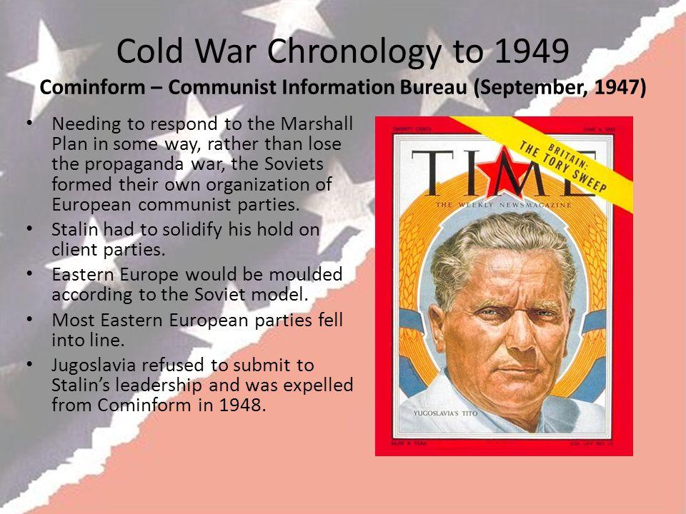 Cold War Chronology to 1949 Cominform – Communist Information Bureau (September, 1947)