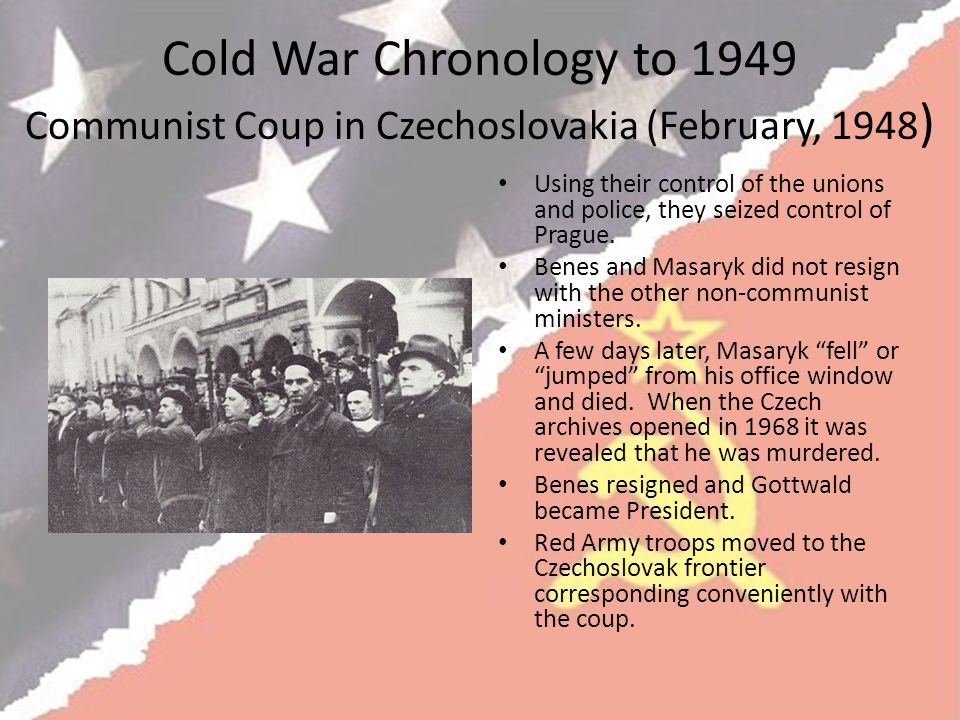 Cold War Chronology to 1949 Communist Coup in Czechoslovakia (February, 1948)