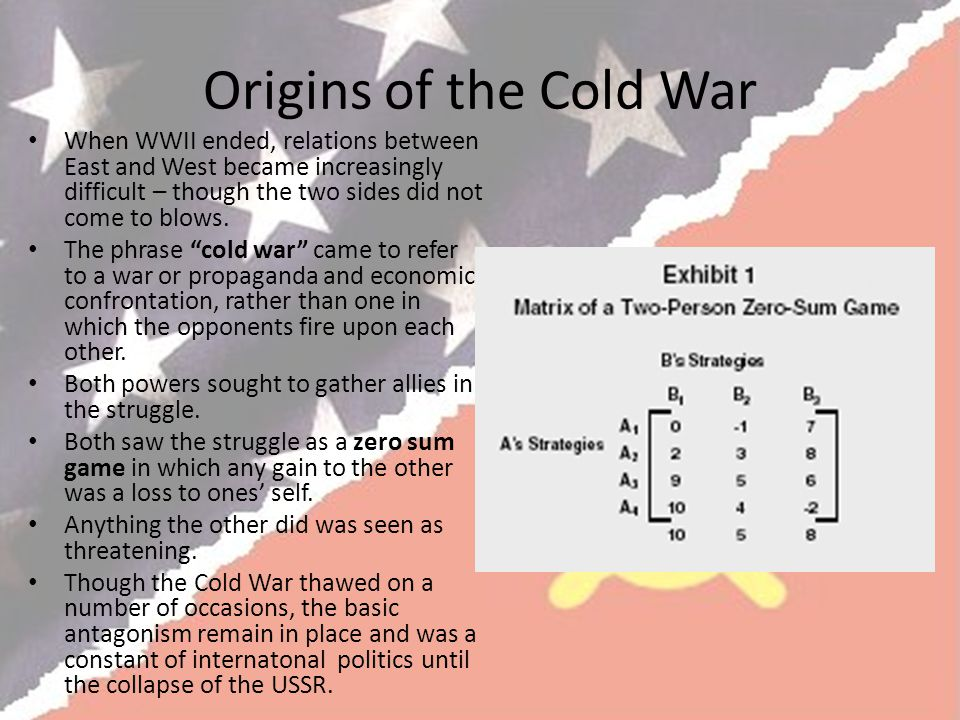Origins of the Cold War When WWII ended, relations between East and West became increasingly difficult – though the two sides did not come to blows.