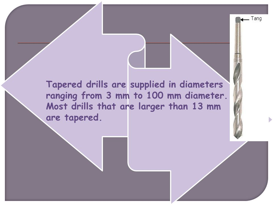 Tapered drills are supplied in diameters ranging from 3 mm to 100 mm diameter.