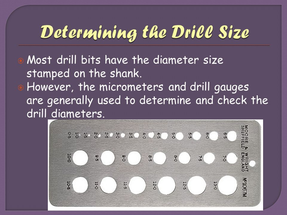 Determining the Drill Size