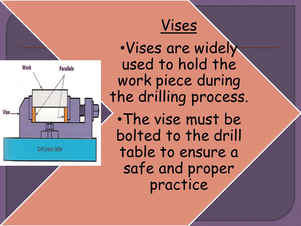 Vises Vises are widely used to hold the work piece during the drilling process.