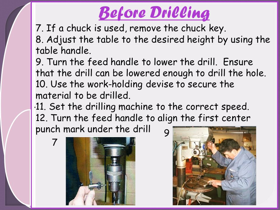 Before Drilling 7. If a chuck is used, remove the chuck key.
