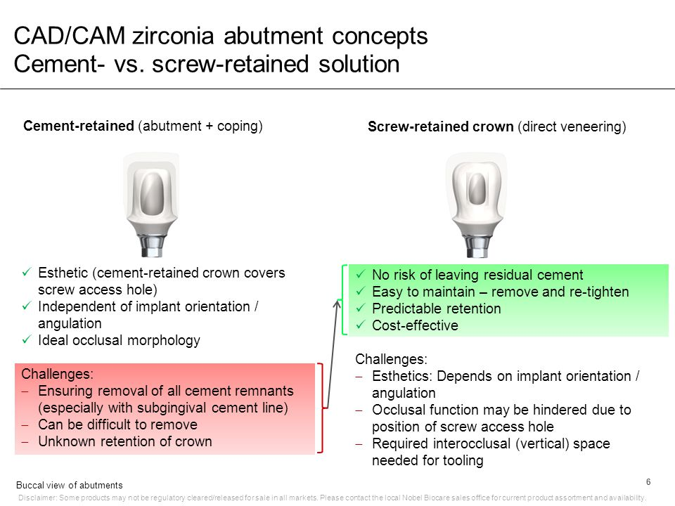 CAD/CAM zirconia abutment concepts Cement- vs. screw-retained solution