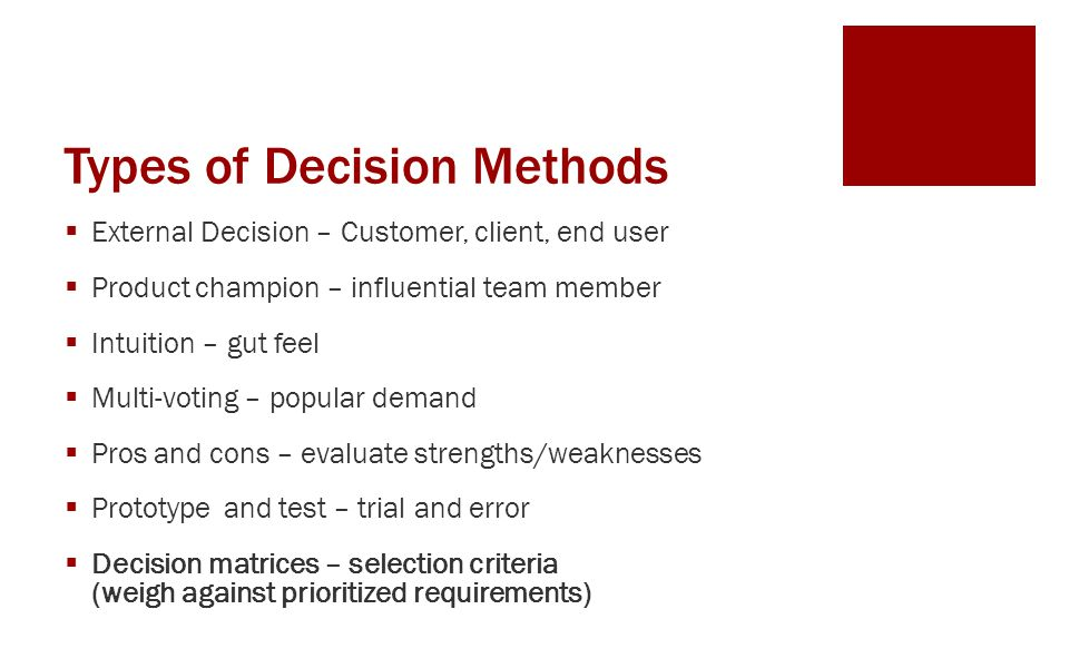 Types of Decision Methods