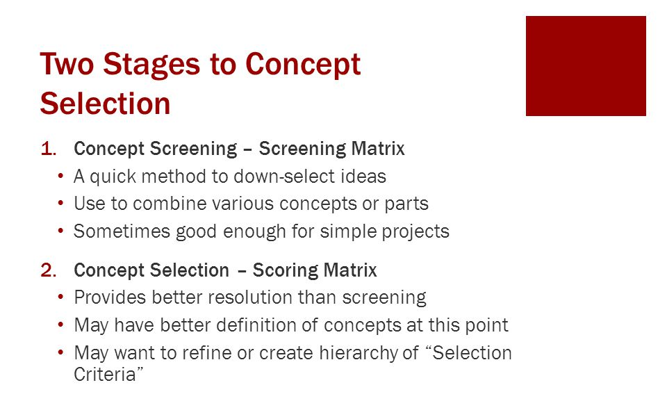 Two Stages to Concept Selection