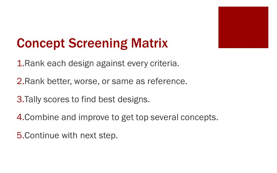 Concept Screening Matrix