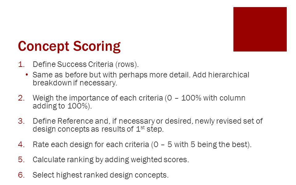 Concept Scoring Define Success Criteria (rows).