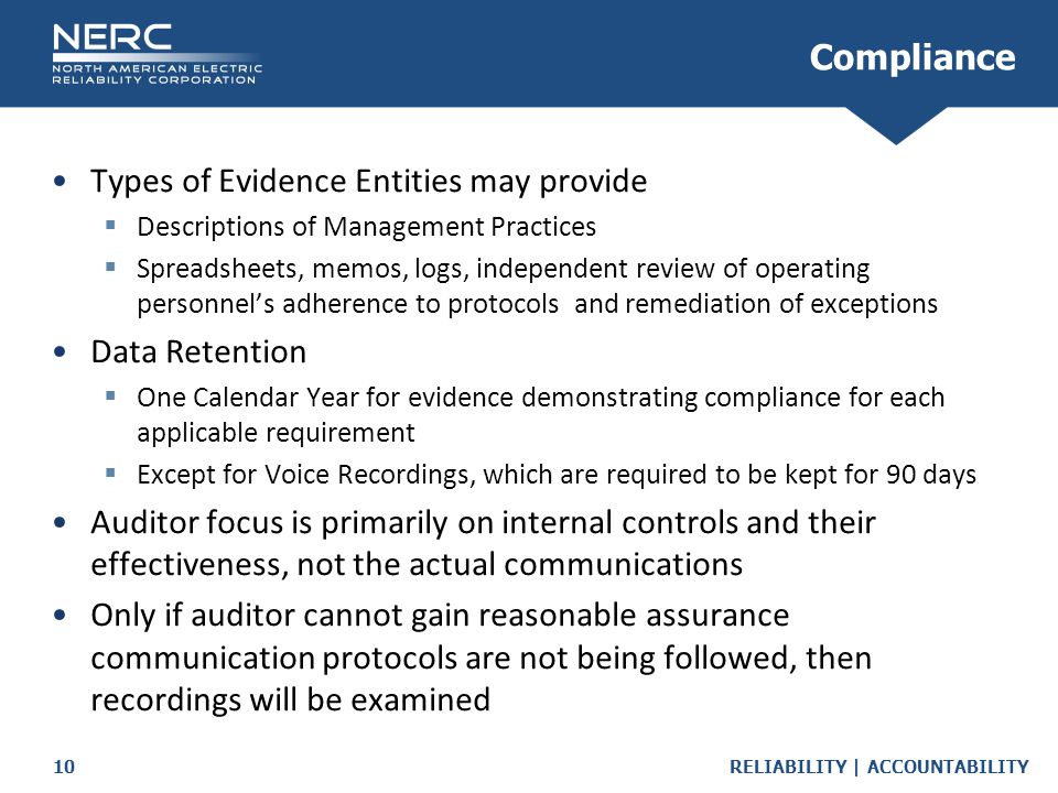 Types of Evidence Entities may provide