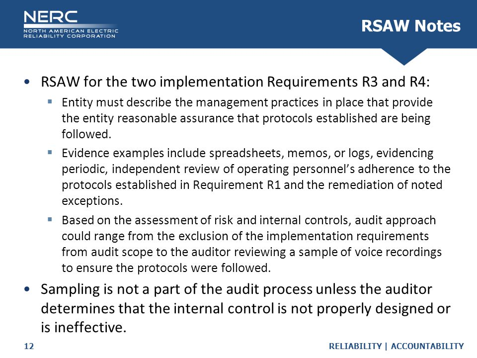 RSAW for the two implementation Requirements R3 and R4: