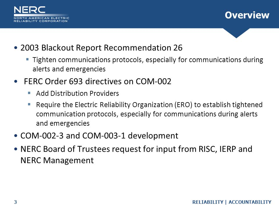 2003 Blackout Report Recommendation 26
