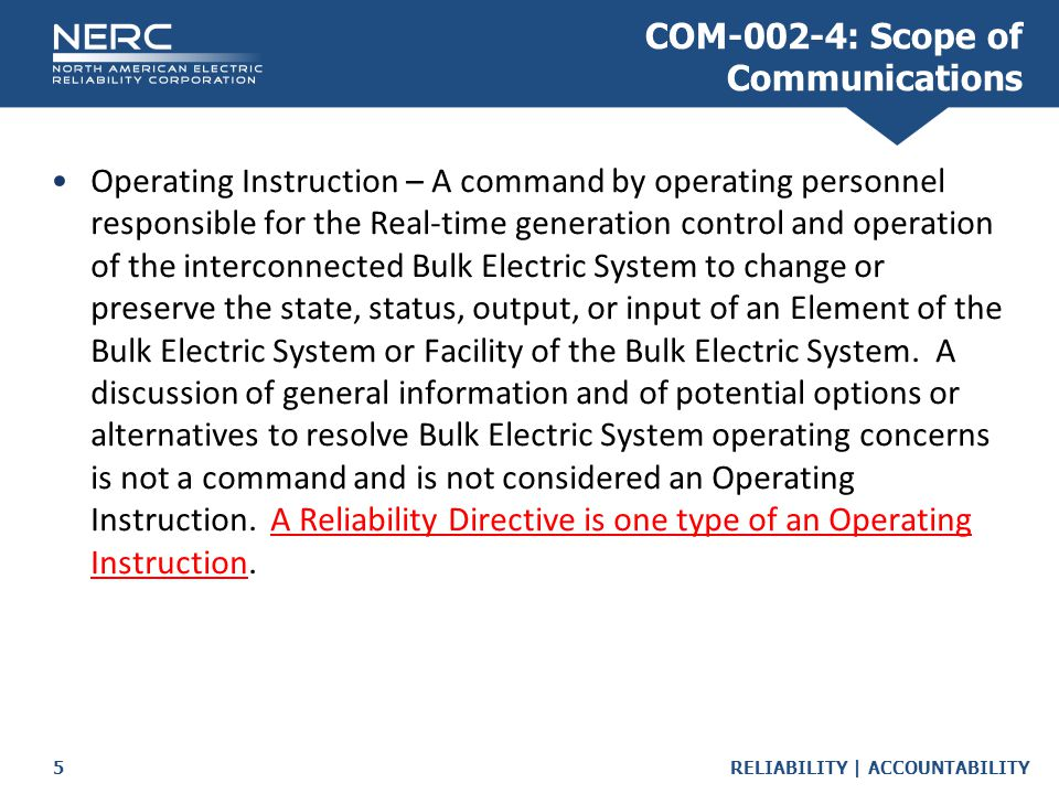 COM-002-4: Scope of Communications