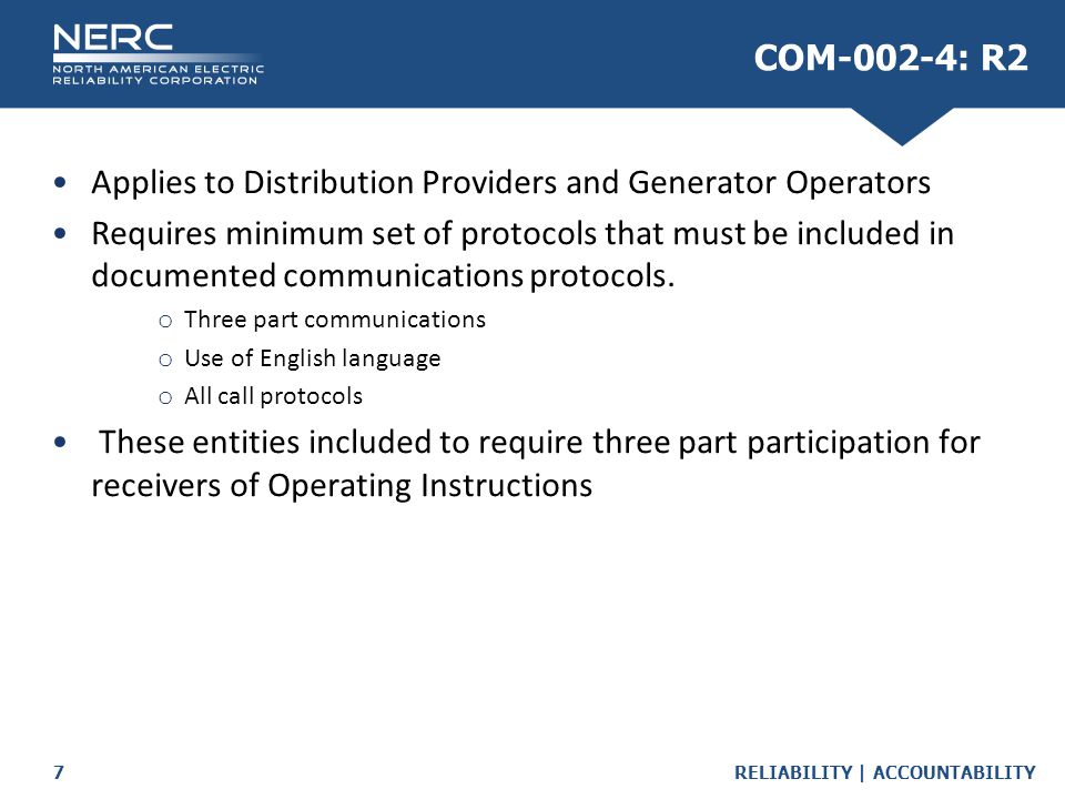 Applies to Distribution Providers and Generator Operators