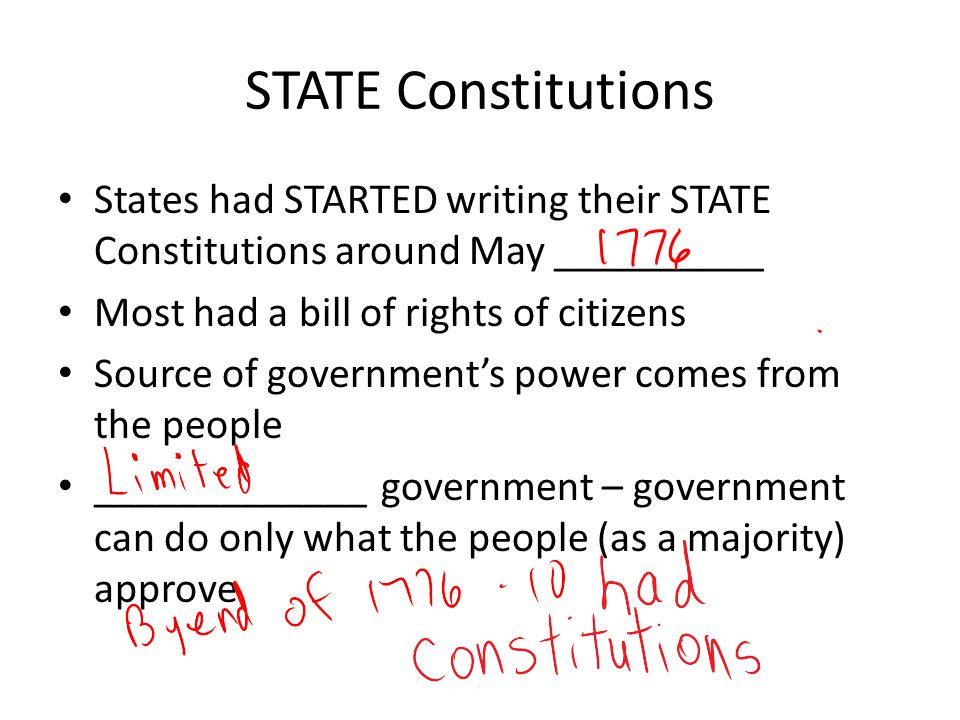 STATE Constitutions States had STARTED writing their STATE Constitutions around May __________. Most had a bill of rights of citizens.